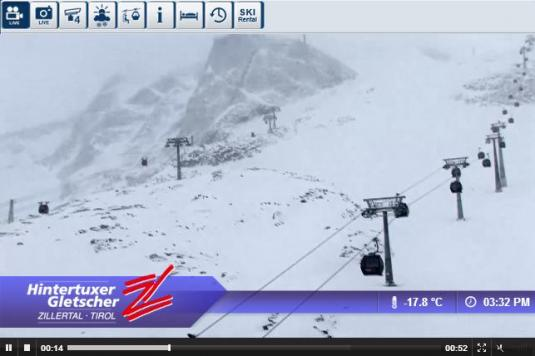 Live Streaming Hintertux Ski Resort Skiing Weather Webcam, Austria