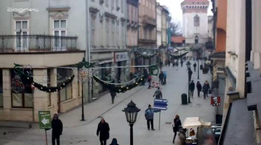 Krakow Old Town Florianska Street Live Video Streaming HD Webcam Krakow