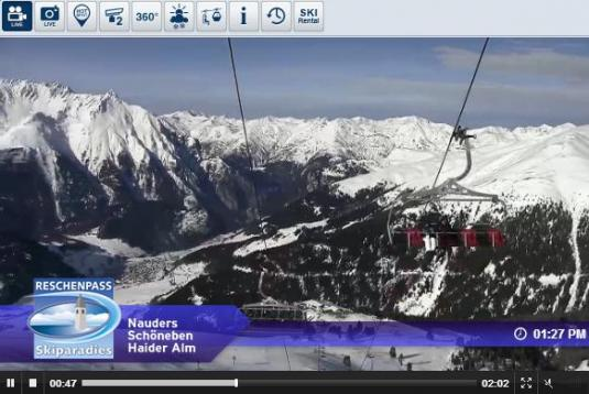 Live Streaming Skiing and Snowboarding Nauders Ski Resort Weather Webcam, Austria