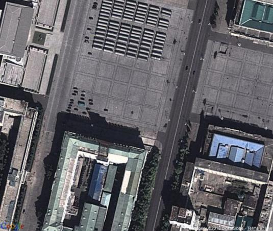 Live Arial Map View Overlooking Kim Il-sung Square Pyongyang City North Korea