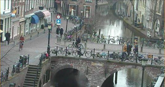 Oudegracht Canal Controllable Webcam Utrecht City Netherlands