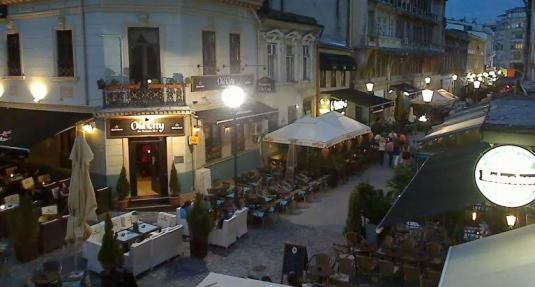 Bucharest Old Town French Street Live Streaming People Watching Webcam