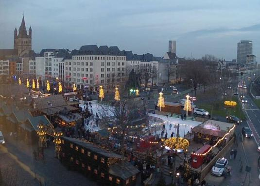 Cologne City Centre Live Ice Rink Christmas Lights Webcam Germany