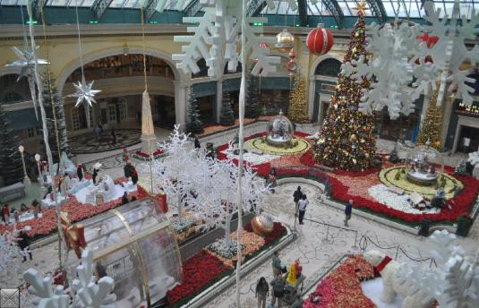 Bellagio Conservatory Botanical Gardens Christmas Theme Webcam Las Vegas