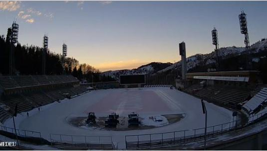 Medeu Ice Skating Rink Stadium Streaming Web Cam Medeu Valley Almaty Kazakhstan.