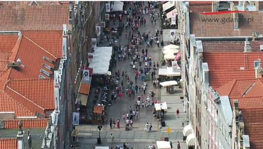 Gdansk City Long Market Panorama People Watching Web Cam Poland