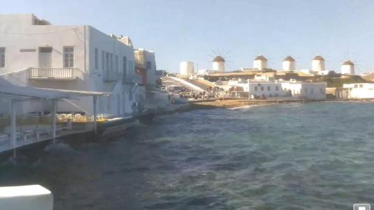 Mykonos Town Chora windmills weather Web Cam Island of  Mykonos Greece