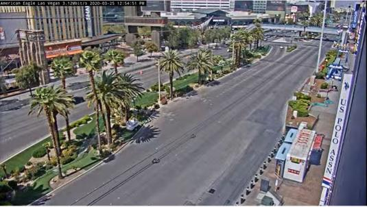 Las Vegas Downtown Fremont Street COVID-19 Traffic Lockdown Webcam Las Vegas Nevada