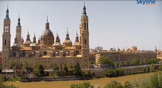 Zaragoza City Live Streaming Panorama Cathedral-Basilica Weather Webcam Spain